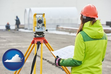 surveying services with Virginia map icon