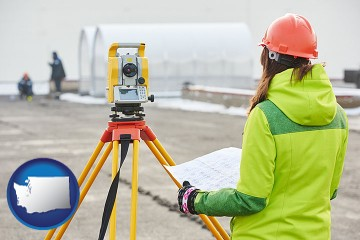 surveying services with Washington map icon