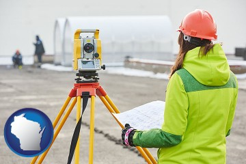 surveying services with Wisconsin map icon