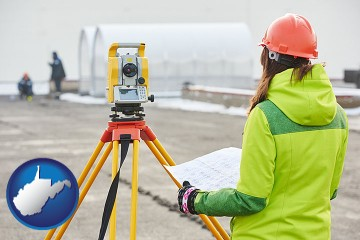surveying services with West Virginia map icon
