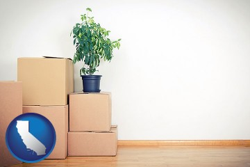 an unfurnished apartment with moving boxes with California map icon