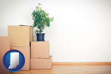 an unfurnished apartment with moving boxes with Indiana map icon