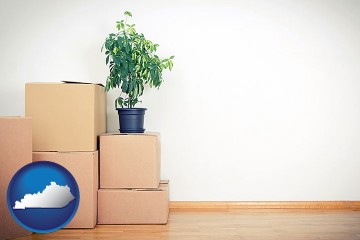 an unfurnished apartment with moving boxes with Kentucky map icon
