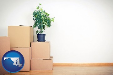 an unfurnished apartment with moving boxes with Maryland map icon