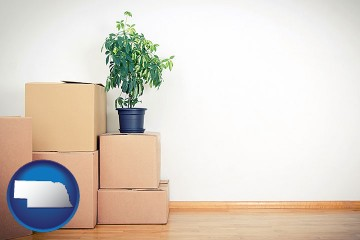 an unfurnished apartment with moving boxes with Nebraska map icon
