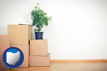 an unfurnished apartment with moving boxes with Ohio map icon