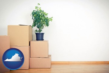 an unfurnished apartment with moving boxes with Virginia map icon
