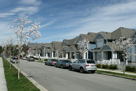 single family homes in suburban neighborhood